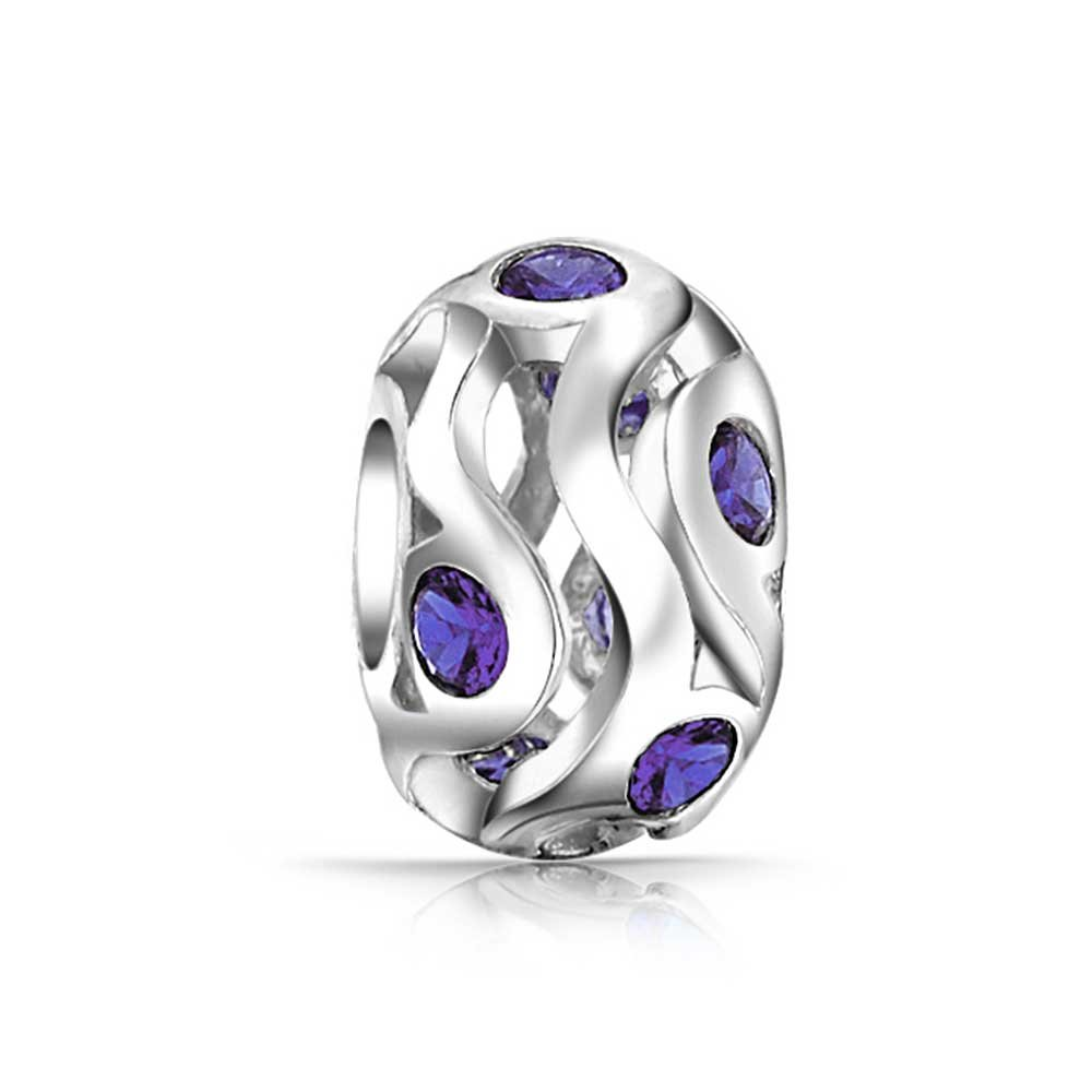 Bling Jewelry Sterling Silver Simulated Amethyst CZ Bead Charm PBX-HSZ-PRPL-SHN