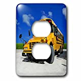 3dRose lsp_154986_6 Yellow School Bus on a Sunny Day Light Switch Cover