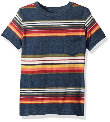 Lucky Brand Boys' Little Short Sleeve Printed Tee Shirt, Indigo Blue Stripe, 5