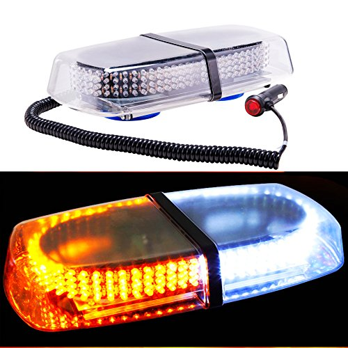 Orion Motor Tech 240 LED White & Amber Roof Top 12V Mini Bar, Law Enforcement Truck Car Vehicle Emergency Hazard 7-Modes Beacon Light Snow Plow Safety Flash Strobe Light W/ Magnetic Base