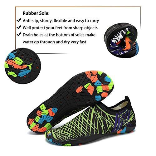 katliu Womens Mens Barefoot Beach Shoes Swimming Pool Sea Surf Wet Water Aqua Socks Green lXGbY53