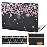 MacBook Pro 13 Inch Case Laptop Plastic Hard Case Flower MacBook Pro 13 Inch A2159 A1706 A1708 A1989 Keyboard Cover Travelling Electronics Accessories Organizer Small Bag (Peach Blossom-Frost Black)