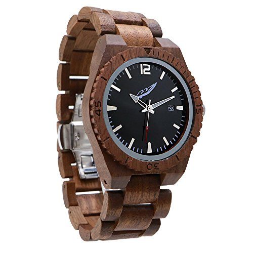 Band Bezel Wrist Watch (Wilds Memory Series Wood Men's Watch – Stylish, Durable, High Gloss Dial Interchangeable Wooden Wrist Watch Band, Wood Bezel, Japanese Analog Quartz Movement, Fashion Accessories Gift for Him)