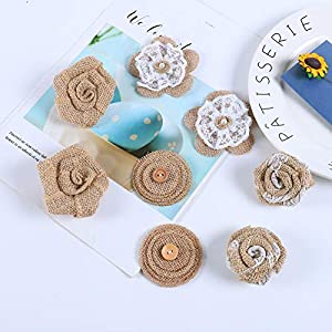 APICCRED 24PCS Burlap Flowers for Crafts 12Styles Natural Handmade Rustic Rose Flower for Burlap Decoration DIY Craft Bouquets Home Wedding Christmas Party Decoration 3