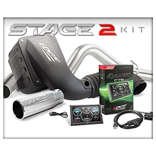 Edge 29127-D Stage 2 Evolution CTS2/Jammer CAI Dry & ECSB/CCLB Single Exhaust Performance Kit for 07.5-10 Chevy/GMC 6.6L - Edge Products Chevy