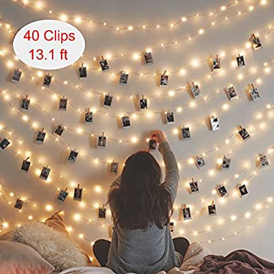 String Lights for Bedroom With Photo Clips, Battery Operated 40 LED Photo Clips 13.1ft, Warm white Lights Wedding Party Christmas Propose Indoor for Hanging Photos, Memos and Artwork