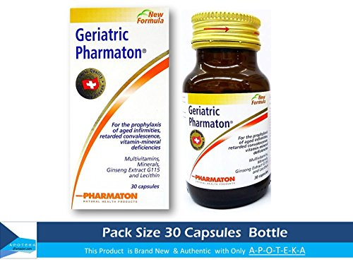 Cheap Pharmaton Geriatric 30 Capsules To Prophylaxis of Aged Infirmities Retarded Convalescence Stress Fatigue Tiredness Exhaustion Ageing Concentration Memory Capsules Ginseng G115 Optimal Physical and Mental Performance Ideal Size (1 Month) for Taking