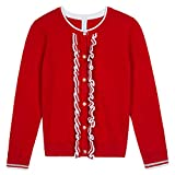 Benito & Benita Girls' Sweater Crew Neck Cardigan Soft Cotton Long Sleeve Sweaters Red for 3-12Y