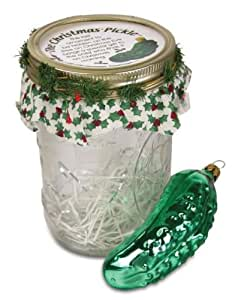 Glass Pickle Ornaments in Jars