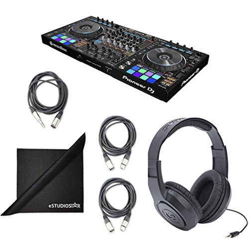 eStudioStar Pioneer DDJ-RZ Digital DJ Controller W/Free Recordbox DJ and DVS Licenses, Headphones, AcessAbles Cables by Pioneer