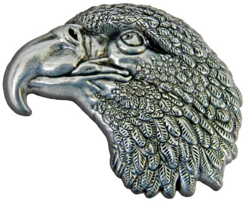 Eagle Head Die Cast Pewter Finish Belt Buckle