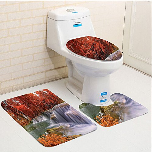 Dallas Park Hotel (Keshia Dwete three-piece toilet seat pad customNational Parks Exotic Cascade to Creek Enchanted Autumn with Faded Fall Leaves Orange White)