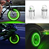 Yezijin Auto Accessories Bike Supplies Neon Blue Strobe LED Tire Valve Caps-2PC (Green)