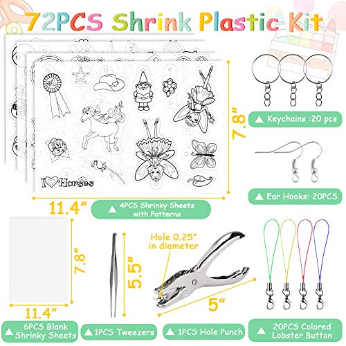 BigOtters Heat Shrink Sheet, 72PCS Shrinky Art Film Paper Kit Include Clear Frosted Heat Shrinky Paper with Keychains Ear Hooks Accessories for Adult Kid Creative DIY Handmade Craft School Project