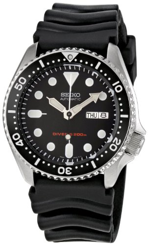 Stainless Men Omega Steel Ring - Seiko Men's Automatic Analogue Watch with Rubber Strap SKX007K