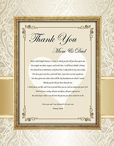 Amazon Com Unframed 11x14 Matted Design Print With Wedding Thank You Gift Poetry For Parents Thank You Present Poem Mom Dad From Bride Groom