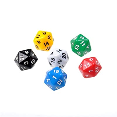 6pcs / Set D20 Dados opacos Veinte Caras de Dados para Mazmorras y Dragones Color Resina Juegos de poliédricos Accesorio: Juguetes y juegos