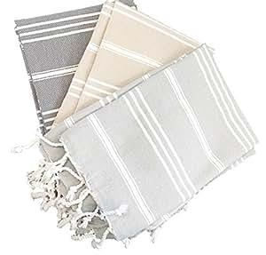 (Set of 2) Palace Hand Towel 100% Turkish Cotton Hand-loomed Bath Beach Towel Peshtemal Scarf (26.5 x 35.5 inches) (60 x 90 cm) (Sand)