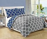 3 piece Luxury Grey / Navy Blue Reversible Quatrefoil Down Alternative Comforter set, Full / Queen with Corner Tab Duvet Insert