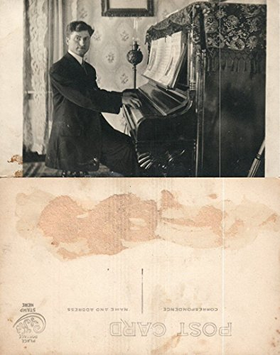 Rppc Photo Postcard - PIANO PLAYER RPPC REAL PHOTO ANTIQUE POSTCARD
