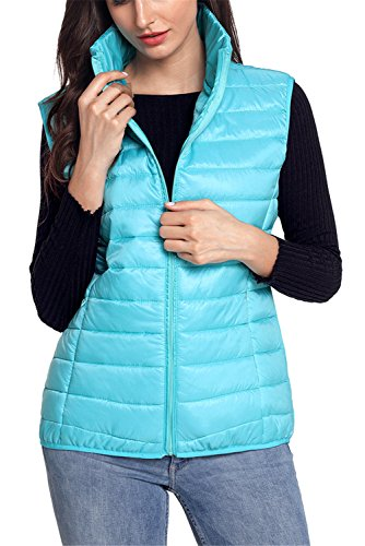 Sport Puffer Vest (Dokotoo Puffer Vest For Womens Casual Winter Lightweight Gilet Quilted Padded Vest Sporty Outdoor Puffer Vest Down Parkas With Pockets Sky Blue Medium)
