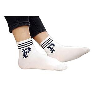 Inkach Fashion Unique Men Cute Alphabet Cotton Warm Socks (Blue)