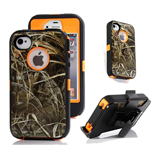 iPhone 4s Holster Case, Harsel® Heavy Duty Tree Camo Shockproof Full Body Hybrid Combo Military w' Belt Clip Built-in Screen Protector Case Cover for iPhone 4s - Straw Orange