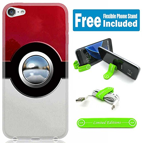 [Ashely Cases] Apple iPod Touch 5th/6th Generation Cover Case Skin with Flexible Phone Stand - Pokemon Pokeball Glossy Red - Ipod Touch Pokemon Case