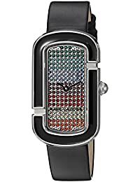 Womens The Jacobs Quartz Stainless Steel and Leather Casual Watch, Color:Black