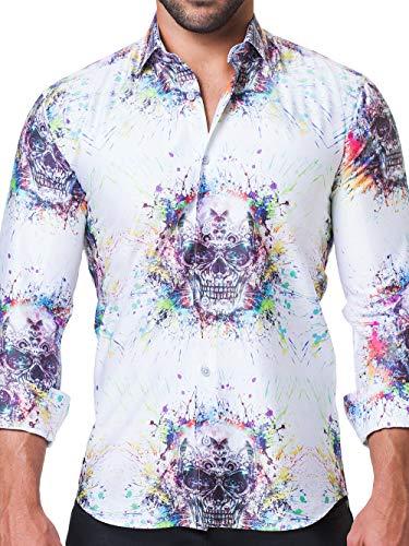 Maceoo Mens Designer Dress Shirt - Stylish & Trendy - Fibonacci Spectre White - Tailored Fit]()
