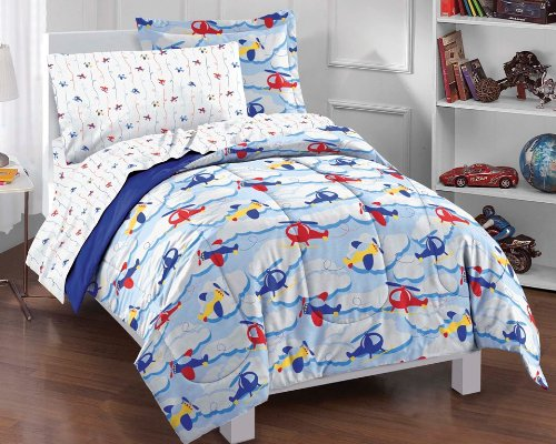 Dream Factory Planes And Clouds Ultra Soft Microfiber Comforter Set, Blue, Twin