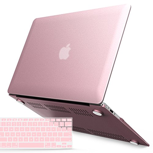 iBenzer MacBook Air 13 Inch Case, Soft Touch Hard Case Shell Cover with Keyboard Cover for Apple MacBook Air 13 A1369 1466, Rose Gold MMA13MPK+1