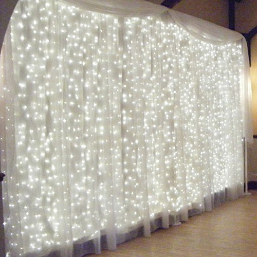 Wedding decorations for reception amazon window curtain icicle lights led string fairy lights linkable design 8 modesdaylight white window lights for indoor bedroomwedding partychristmas junglespirit Gallery