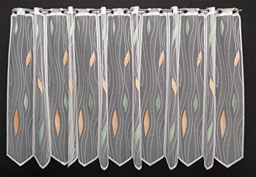 Scheibengardine mit Tropfenmuster 75 cm hoch (weiß/pastellgrün/pastellorange) | Breite der Gardine durch Stückzahl in 14 cm Schritten wählbar!