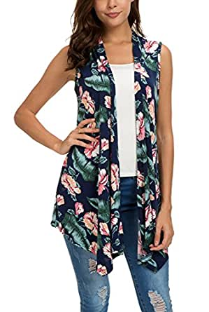 EXCHIC Women's Summer Floral Printed Vest Sleeveless Cardigan - Blue - Small