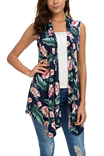 Women's Sleeveless Draped Open Front Cardigan Vest Asymmetric Hem (L, 1)