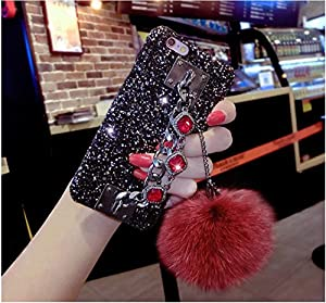 Umiko(TM) 3D Crystal Rhinestone Bling Diamonds Glitter Hard Case Cover with Bracelet Metal Chain Lovely Soft Rabbit Fur Plush Ball for iPhone X Girls Women