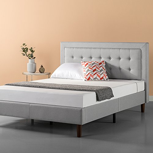 Zinus Upholstered Button Tufted Premium foundation Bed / solid Wood Slat help / Grey Sand, Queen Black Friday & Cyber Monday 2018