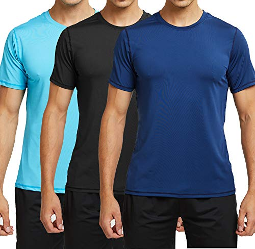 TELALEO Men's Athletic T-Shirts Dri Fit Short Sleeve Moisture Wicking Crew Tee Shirts for Training Running UPF 50+ -BNB-L Black/Navy/Blue