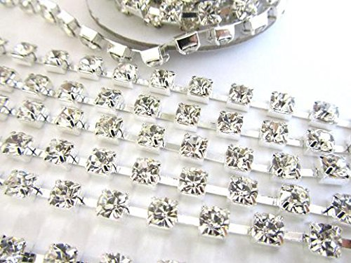 Roll of 10 yard AA Glass Crystal Rhinestones 3mm Stud/Silver Chain/Trim/trimming Clear US SELLER SHIP FAST