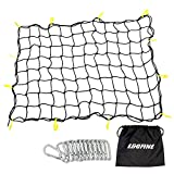 """#7: Egofine Heavy Duty Bungee Cargo Net for SUV Roof Car Roof Pickup Truck Bed Trailer 3'x4' Stretches to 6'x8' Small Mess of 4""""x4"""" with 12 Plastic Hooks and 12 Metal Carabiners Black"""