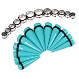 Big Taper kit 00G-20mm Turquoise Tapers and Steel Tunnels - 24 Pieces