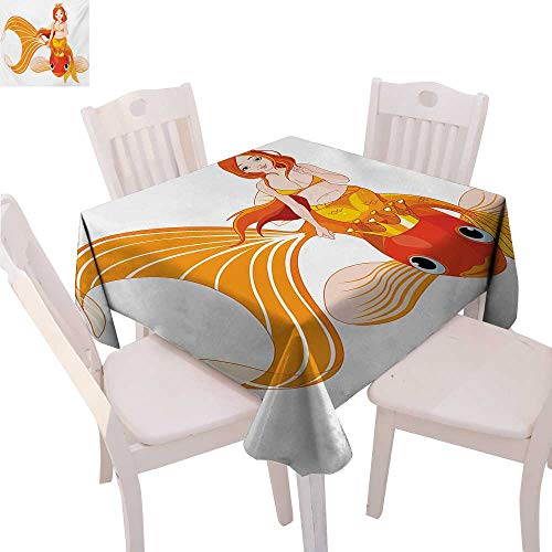 - BlountDecor Underwater Dinner Picnic Table Cloth Pretty Princess Mermaid Riding on Gold Fish Swimming Animals Happy Waterproof Table Cover for Kitchen 60