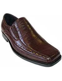 NEW MENS LOAFERS SLIP ON COMFORT LEATHER LINED DRESS SHOES 16007 Brown