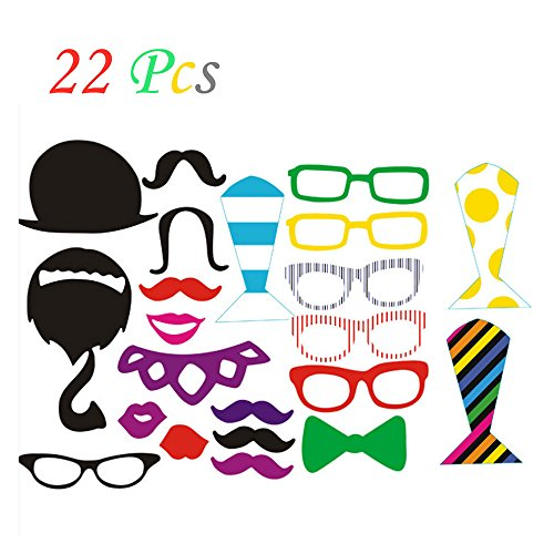 Wedding Photo Booth Props with Strike For Party, Pose Sign 22 Printed Pieces with Wooden Sticks, Accessories Decorations for Birthday Parties, Hipster Bow Tie, Social Media Like Button, Grillz Teeth