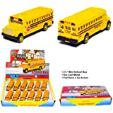 "12 pcs in Box: 2½"" Die Cast Mini Long Nose School Bus, Pull Back Action (Yellow)"