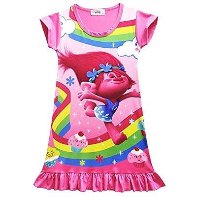 SCHWARZWALD Trolls Girls Short Sleeve Summer Dress Kids Princess Pajamas Dress Nightgown