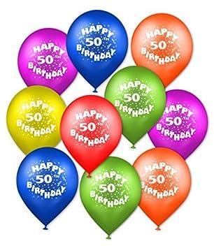 Amazon.com: Happy 50th Cumpleaños 12 Globos 10 Count por la ...