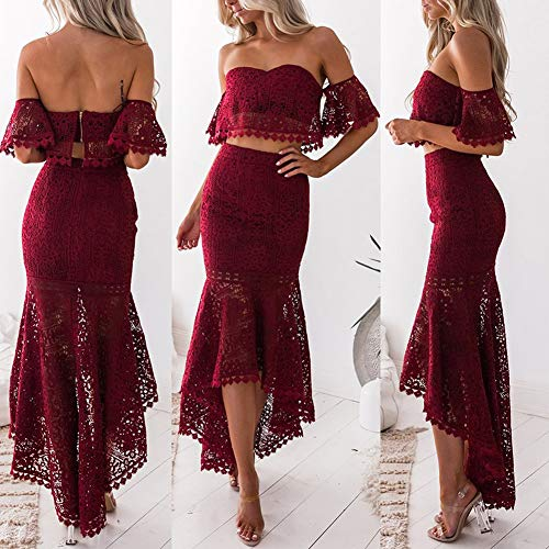 Maserfaliw Outfits & Sets, Tube Top + Skirt,2Pcs/Set Women Solid Color Lace Short Sleeve Tube Top Irregular Bodycon Skirt - Wine Red M
