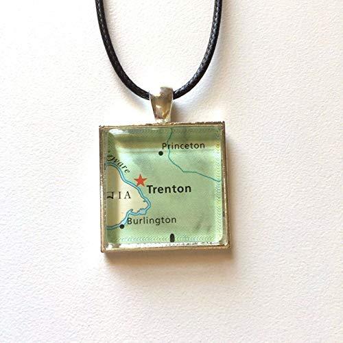 Trenton New Jersey Princeton USA Map Square Pendant Silver Necklace Atlas -
